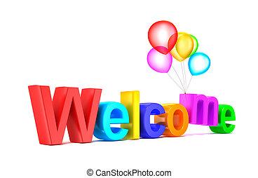 bunte, herzlich willkommen, wort, mit, luftballone