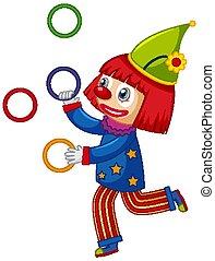bunte, hintergrund, jonglieren, weißes, clown, ringe, glücklich
