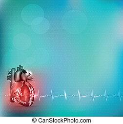 bunte, hintergrund, kardiologie
