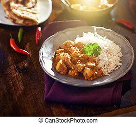 bunte, indische , huhn curry, mit, linsenleuchtsignal