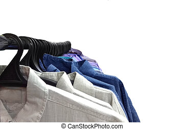 bunte, isolieren, hängen, kleiderbügel, hemden, reihe