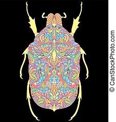 bunte, käfer, auf, schwarzer hintergrund