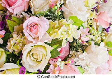 bunte, künstlich, rosen