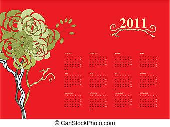 bunte, kalender, für, 2011, mit, baum