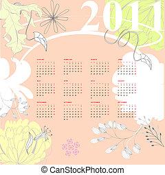 bunte, kalender, mit, blumen, 2011