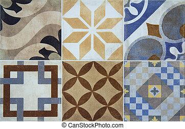 Bunte, Keramische Fliesen, Mit, Portugal, Mittelmeer, Stil, Muster,  Hintergrund
