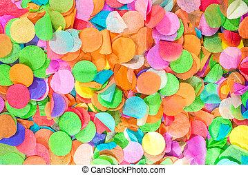 bunte, konfetti, als, schablone, für, feier, und, party