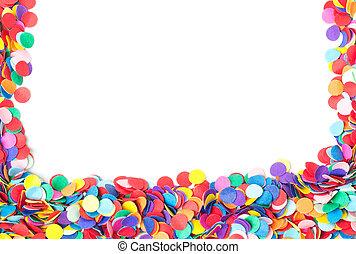 bunte, konfetti, freigestellt, weiß