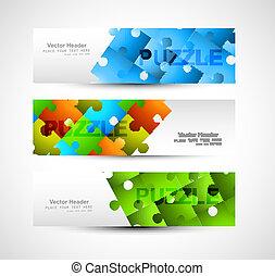 bunte, kopfsprung, puzzel, satz, vektor