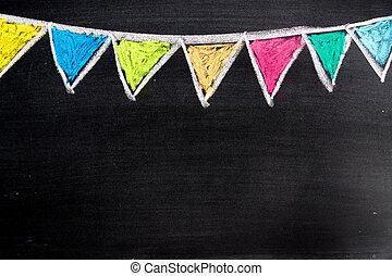 bunte, kreide zeichnen, in, hängender , party, fahne, form, auf, tafel, hintergrund