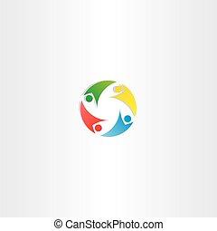 bunte, leute, element, vektor, gemeinschaftsarbeit, logo, kreis, ikone