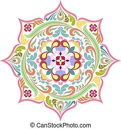 bunte, lotos, mandala., blumen-, tattoo., runder