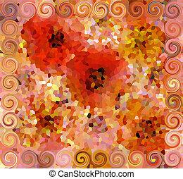 bunte, muster, abstrakt, locken, seamless, blumen, mosaik