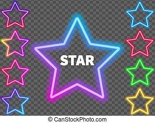 bunte, neon, hintergrund., glühen, sternen, zeichen & schilder, durchsichtig