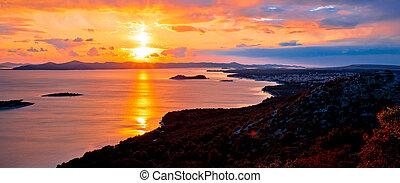 bunte, panorama, archipel, erstaunlich, sonnenuntergang, ...