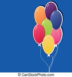 bunte, party, luftballone