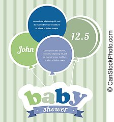 bunte, party, luftballone, feiern, a, neugeborenes baby, boy., dusche, einladung