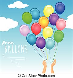 bunte, party, luftballone, luft