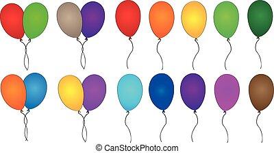 bunte, party, luftballone, sammlung
