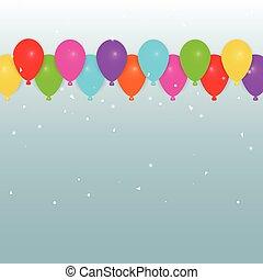bunte, party, luftballone, und, konfetti