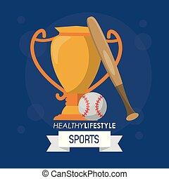 bunte, plakat, von, gesunder lebensstil, sport, mit, baseball, trophäe