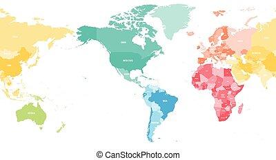 Karte Kontinente Welt.Landkarte Sechs Politisch Kontinente Welt Australia