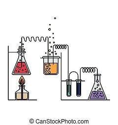bunte, prozess, bild, szene, chemische , versuch, feuerzeug, laboratorium