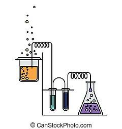 bunte, prozess, bild, szene, chemische , versuch, laboratorium