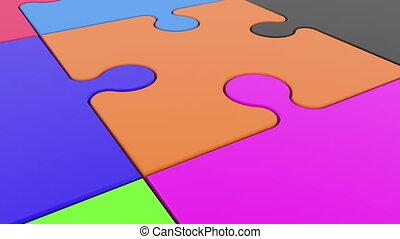 bunte, puzzlesteine, weiß