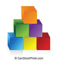 bunte, pyramide, tabelle