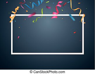 bunte, rahmen, hintergrund, konfetti, party, weißes