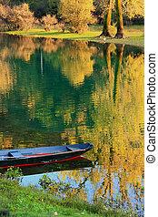 bunte, reflexion, bäume, balkan, montenegro, crnojevica, ...