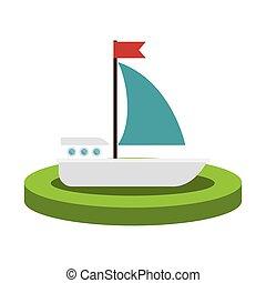 bunte, silhouette, mit, segelboot, aus, lauge