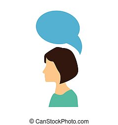 bunte, silhouette, profil, frau, mit, dialog, callout