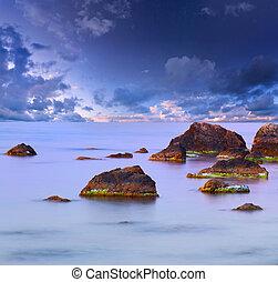 bunte, sommer, seascape., sonnenuntergang