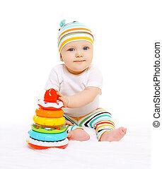 bunte, Spielzeuge,  baby, Porträt, gestreift, Hut, spielende