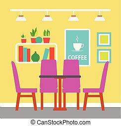 bunte, stühle, zimmer, vektor, design, tisch