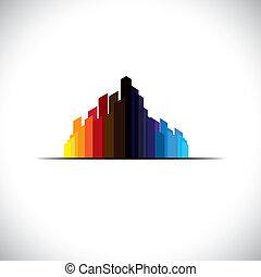 bunte, stadt, stadtzentrum, ikone, von, groß, gewerblich, gebäude, -, vektor, graphic., der, abstrakt, abbildung, von, a, metropole, enthält, hohes steigen, &, groß, türme, in, farben, mögen, rotes , orange, schwarz, blaues, usw
