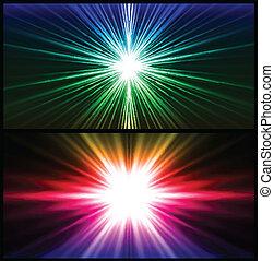 bunte, strahlen, von, light., zwei, vektor, hintergrund