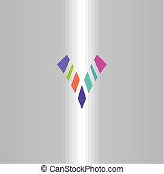bunte, symbol, logotype, zeichen, brief, v, logo, ikone