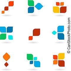 bunte, symbole, abbildung, satz, vektor, sechs