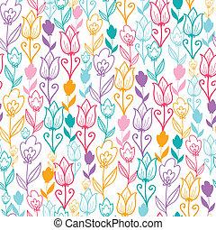 bunte, tulpenblüte, blumen, seamless, muster, hintergrund