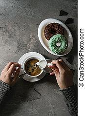 bunte, verglast, donuts