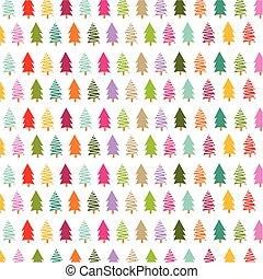 bunte, weihnachtsbäume, karte