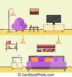 bunte wohnung stil modern livingroom inneneinrichtung illustration