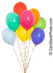 bunter , luftballone, bündel, gefüllt, mit, helium, freigestellt, weiß