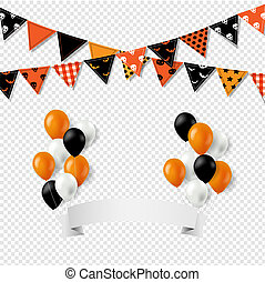 bunting, balões, dia das bruxas, bandeiras, fundo, bandeira, transparente