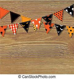 bunting, bandeiras, madeira, dia das bruxas, fundo