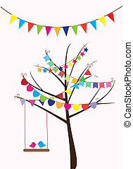 vector birds swinging and bunting in the tree
