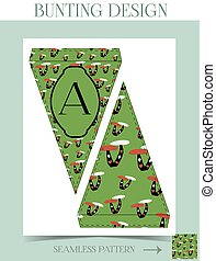 Bunting design - Mushroom from Wonderland.